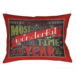 Laural Home 'Most Wonderful Time of the Year' Multicolored Polyester Christmas-themed 18-inch Decorative Pillow
