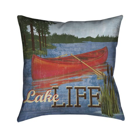 Laural Home Lake Life Polyester 18-inch Decorative Pillow