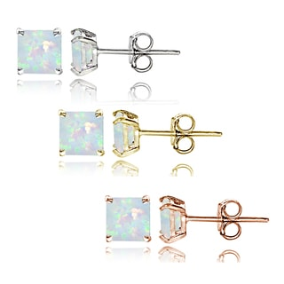 Glitzy Rocks Sterling Silver Tri Color Created Opal 4mm Square Earrings Set of 3