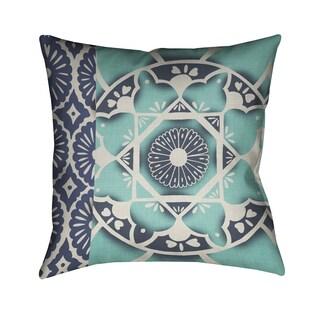 Laural Home Blue Polyester 18-inch Batik Pattern Decorative Pillow