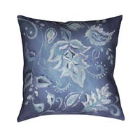 Laural Home Blue Polyester 18-inch Patterned Decorative Pillow
