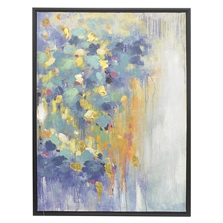 Three Hands Multicolored Oil-on-Canvas Abstract Framed Painting