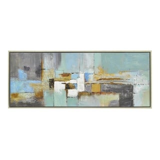 Three Hands 50431 Abstract Geometric Painting Framed- Oil On Canvas