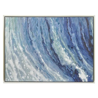 Three Hands Ocean Inspired Framed Oil on Canvas Painting