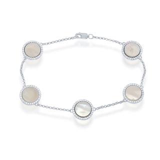 La Preciosa Sterling Silver Abalone Circle Bracelet