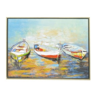 Three Hands Multicolored Framed Boat-themed Oil Painting