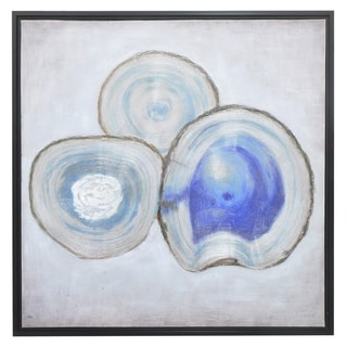Three Hands Contemporary Blue Agate-inspired Framed Oil Painting with Hand-embellished Detail