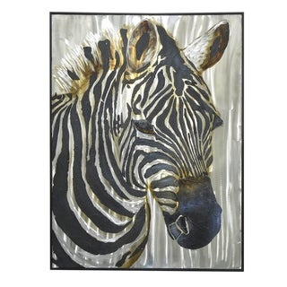 Three Hands Contemporary Zebra Framed Oil Painting