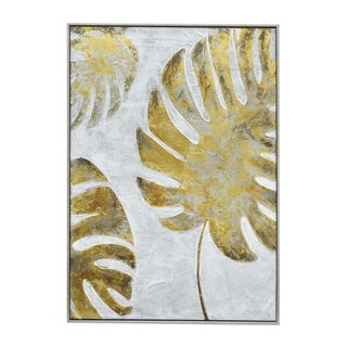Three Hands Multicolored Framed Contemporary Tropical Palm Painting