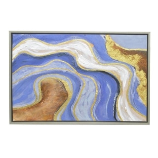 Three Hands Contemporary Agate Inspired Patterned Framed Oil Painting
