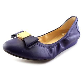 Cole Haan Women's Tali Bow Ballet Blue Leather Dress Shoes