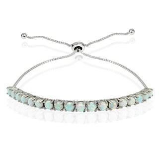 Link to Glitzy Rocks Sterling Silver Created Opal Adjustable Slider Bracelet Similar Items in Bracelets