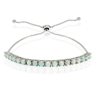 Glitzy Rocks Sterling Silver Created Opal Adjustable Slider Bracelet (Option: Pink)