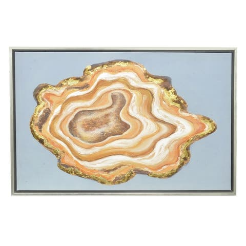 Three Hands Multicolored Contemporary Organic Agate Shape Oil Painting