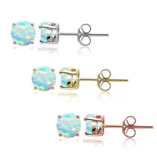 Glitzy Rocks Sterling Silver Tri Color Created White Opal 4mm Square Earrings, Set of 3