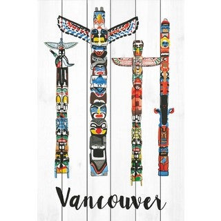 Marmont Hill - 'Vancouver Totems' by Molly Rosner Painting Print on White Wood