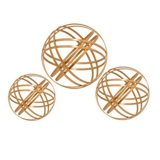 Three Hands Copper-finish Metal Decorative Orbs (Set of 3)