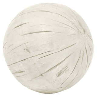 Three Hands Ivory-colored Resin Distressed Decorative Ball