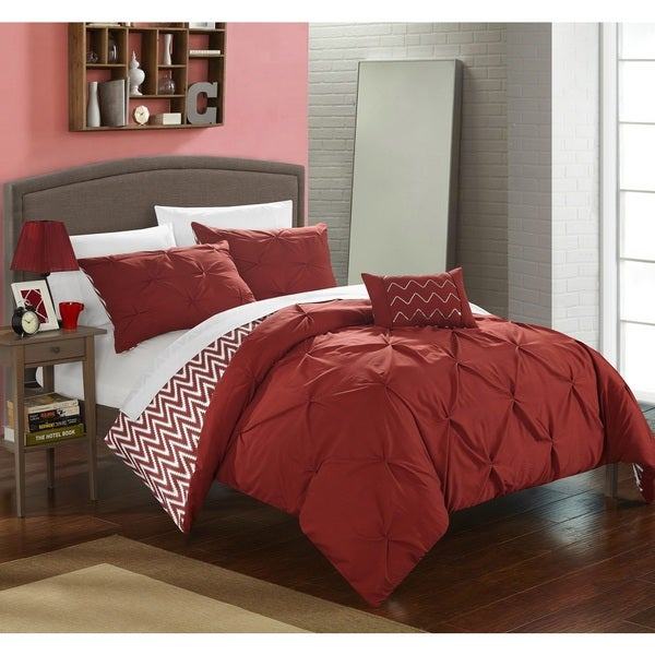 shop chic home 8 piece erin bed in a bag brick comforter set on sale free shipping today. Black Bedroom Furniture Sets. Home Design Ideas