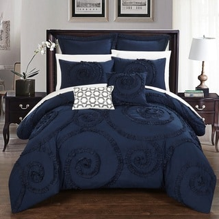 Chic Home 7-Piece Rosamond Navy Comforter Set