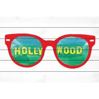 Marmont Hill - 'Hollywood Glasses' by Molly Rosner Painting Print on White Wood