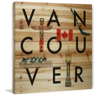 Marmont Hill - 'Vancouver Square' by Molly Rosner Painting Print on Natural Pine Wood