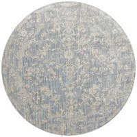 Lucca Floral Light Blue/ Ivory Rug (7'10 x 7'10 Round)