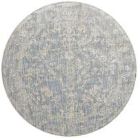 Lucca Floral Light Blue/ Ivory Rug - 7'10 x 7'10