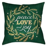 Laural Home Black/Green Polyester 18-inch x 18-inch 'Peace, Love and Joy' Wreath Decorative Pillow
