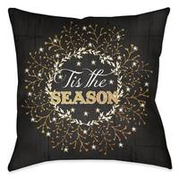 Laural Home Red/Black Polyester 18-inch Square Tis the Season Holiday Wreath Decorative Pillow