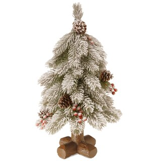 Faux Wood 18-inch Snowy Bayberry Cedar Tree
