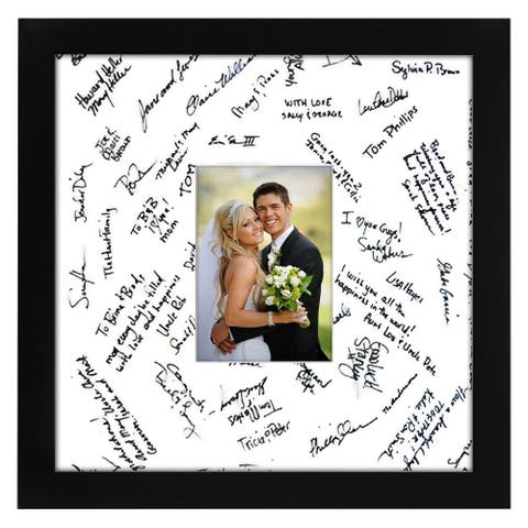 Americanflat 14 x 14-inch Black Glass Wedding Picture Frame for 5 x 7-inch with Matt or 14 x 14-inch without Mat