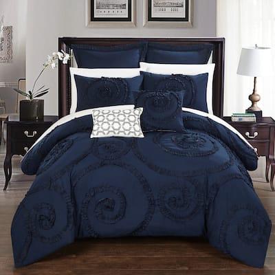 Gracewood Hollow Maqqari Dark Blue 11-piece Bed in a Bag Comforter Set