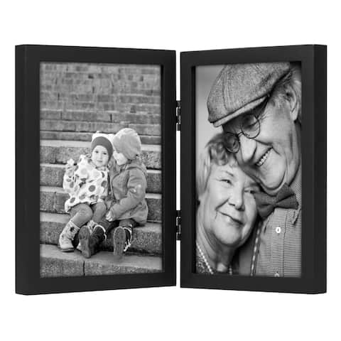 """Americanflat Hinged Picture Frame in Black Two Displays MDF -5"""" x 7"""""""