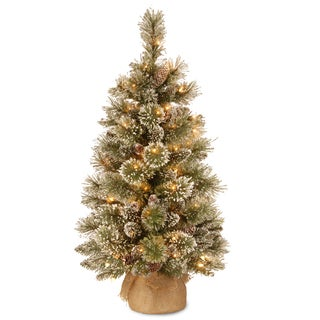 Glittery Bristle Pine 3-foot Artificial Tree with 35 Battery-operated Warm White LED Lights