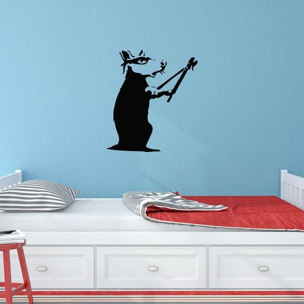 banksy 39 rat burglar 39 solid color vinyl wall decal free shipping today overstock 19598680. Black Bedroom Furniture Sets. Home Design Ideas