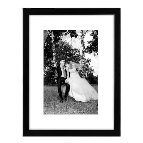 Americanflat 12 x 16-inch Black Frame with Glass Front, Hanging Hardware, Matted to Fit 8 x 12-inch or 12 x 16-inch without Mat