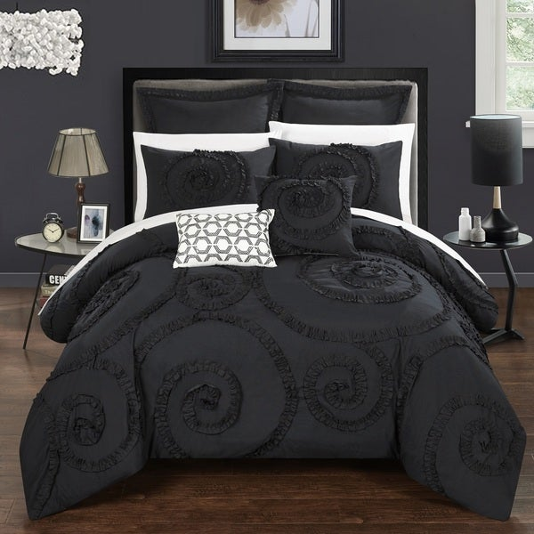 Chic Home 11-Piece Rosamond Bed-In-A-Bag Black Comforter Set