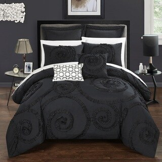 Chic Home 11-Piece Rosamond Bed-In-A-Bag Black Comforter Set