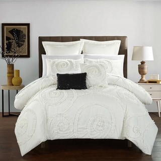 Chic Home 11-Piece Rosamond Bed-In-A-Bag White Comforter Set