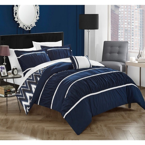 Shop Chic Home 4 Piece Brooks Navy Comforter Set On Sale