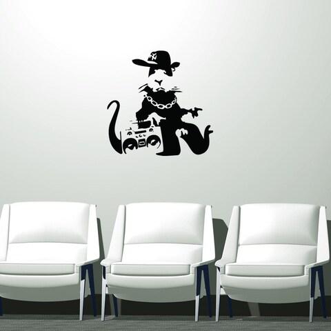 Banksy 'Gangsta Rat' Black Vinyl Wall Decal