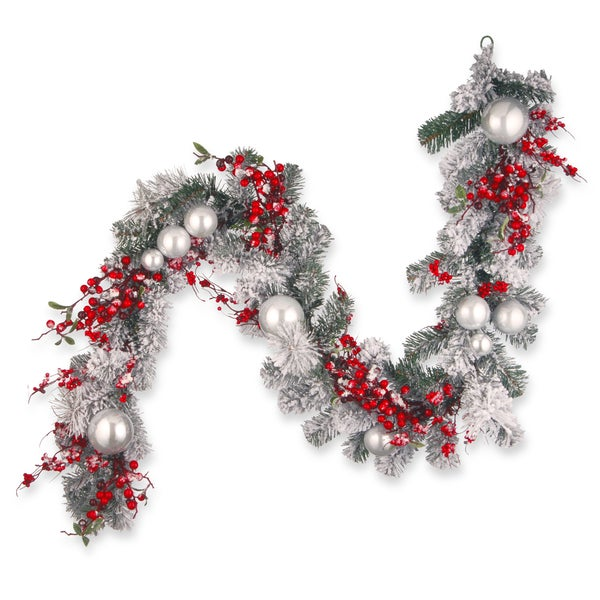 National Tree Company 6' Holiday Christmas Decorative Garland with Red and White Ornament. Opens flyout.