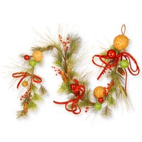 Red/Green/Goldtone 72-inch Ornament Garland