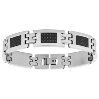 Men's Silver/Black Stainless Steel/Carbon Fiber Bracelet