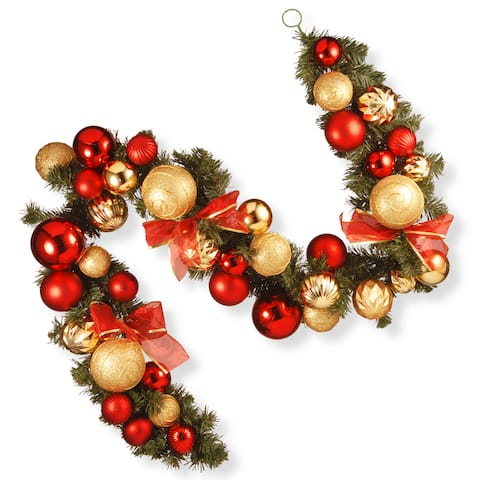 National Tree Company 6' Red and Green Ornament Christmas Decorative Garland