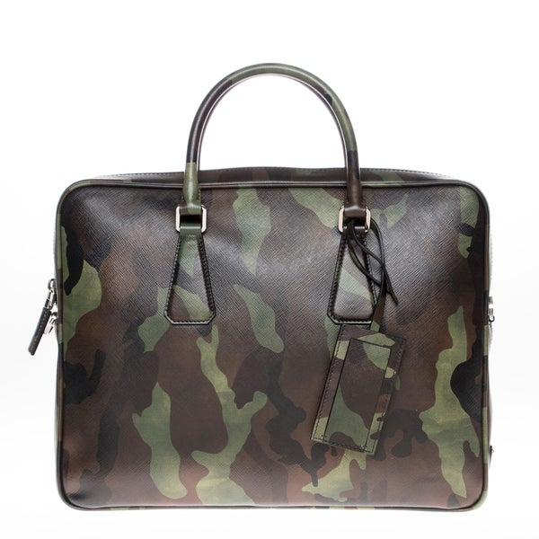 7f3804d3a075 Shop Prada Camouflage Print Saffiano Leather Briefcase (As Is Item ...