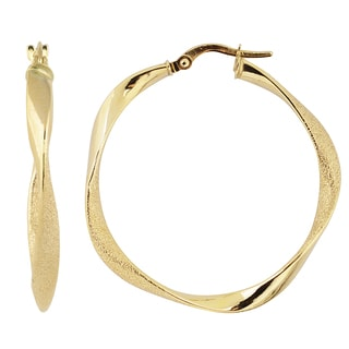 Fremada Italian 14k Yellow Gold 3x30-mm Twisted Round Hoop Earrings