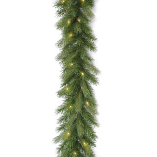 Deerfield Green Fir 9-foot Garland with Clear Lights