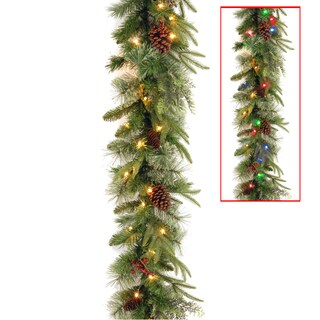9-foot Colonial Garland with Battery-operated Dual Color LED Lights